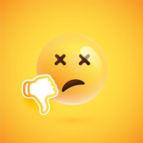 Emoticon med tummen upp, vektor illustration