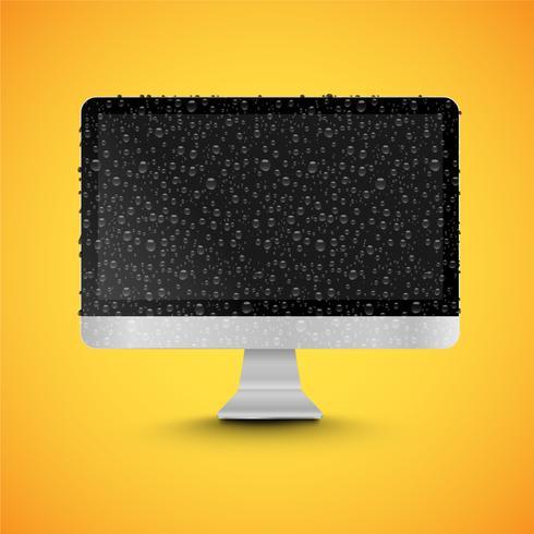 Realistisk isolerad dator med glänsande svart skärm, med waterdrops, vektor illustration