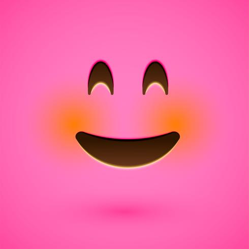 Rosa realistisk uttryckssymbol smiley ansikte, vektor illustration