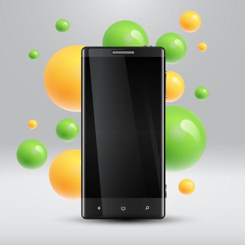 Bunte Blasen, die um einen realistischen Smartphone für Geschäft, Vektorillustration schwimmen vektor