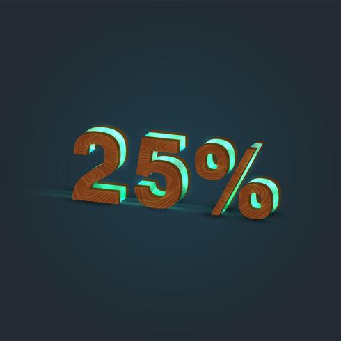 '25% '- Realistische Darstellung eines Wortes aus Holz und glühendem Glas, Vektor