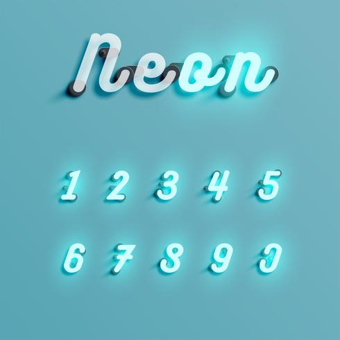 Realistischer Neonzeichensatz, Vektorillustration vektor