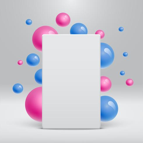 Leere weiße Schablone mit den bunten Bällen, die herum für die Werbung, Vektorillustration schwimmen vektor