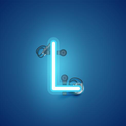Blauer realistischer Neoncharakter mit Drähten und Konsole von einem fontset, Vektorillustration vektor