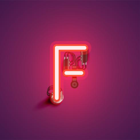 Roter realistischer Neoncharakter mit Drähten und Konsole von einem fontset, Vektorillustration vektor