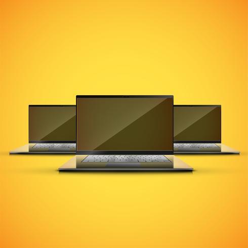 Realistisk bärbar dator på en gul bacground, vektor illustration