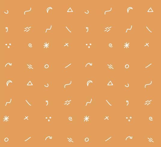 Handdragen former och ikoner sömlösa mönster, vektor illustration
