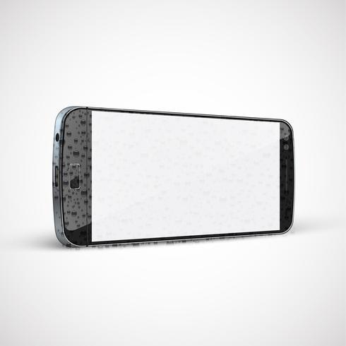 Realistisk, detaljerad våt mobiltelefon, vektor illustration