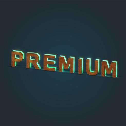 'PREMIUM' - Realistisk illustration av ett ord av trä och glödande glas, vektor