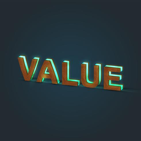"""""""VALUE"""" - Realistisk illustration av ett ord som gjorts av trä och glödande glas, vektor"""