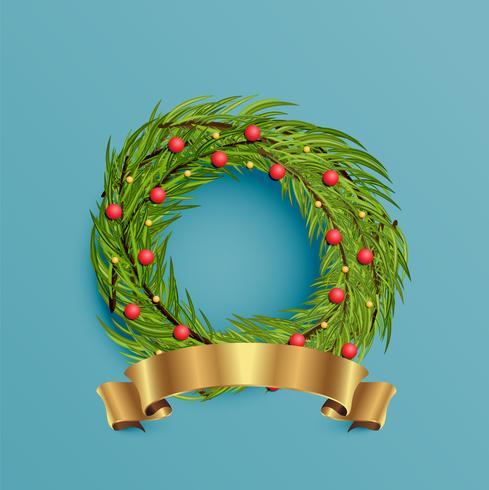 Realistischer Kranz mit Goldband für Weihnachten, Vektorillustration vektor