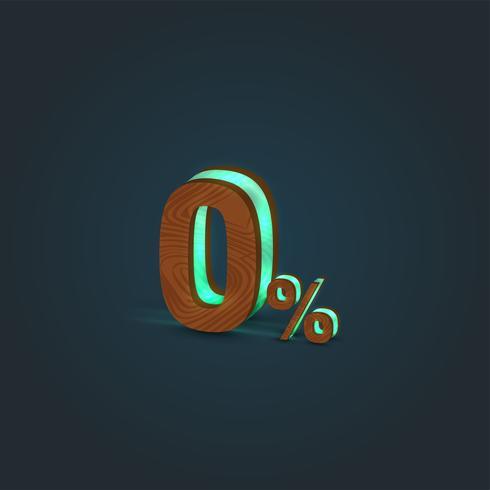 '0%' - Realistisk illustration av ett ord av trä och glödande glas, vektor
