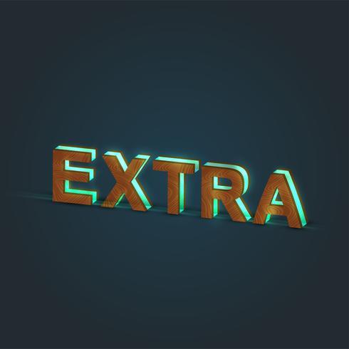'EXTRA' - Realistisk illustration av ett ord av trä och glödande glas, vektor