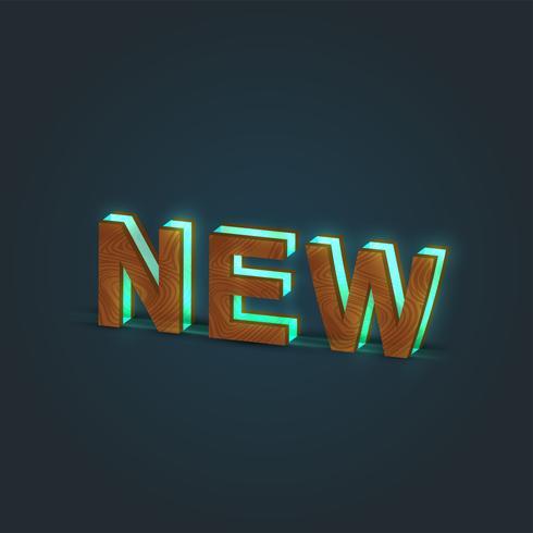 'NEW' - Realistisk illustration av ett ord som gjorts av trä och glödande glas, vektor