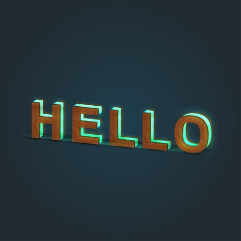 'HELLO' - Realistisk illustration av ett ord av trä och glödande glas, vektor