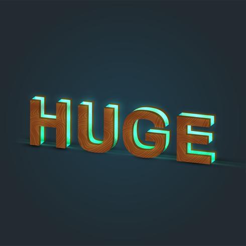 'HUGE' - Realistisk illustration av ett ord av trä och glödande glas, vektor
