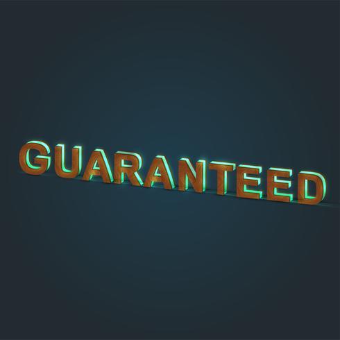 """""""GARANTIERADE"""" - Realistisk illustration av ett ord som gjorts av trä och glödande glas, vektor"""