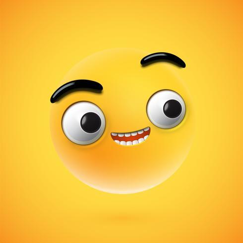 Mycket detaljerad lycklig uttryckssymbol, vektor illustration