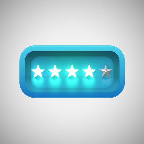 Glödande blå stjärnor i en realistisk glänsande låda, vektor illustration