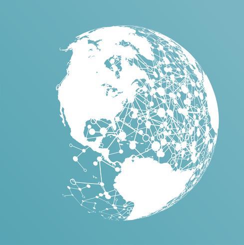 Punktierte Welt mit Verbindungen, Vektorillustration vektor