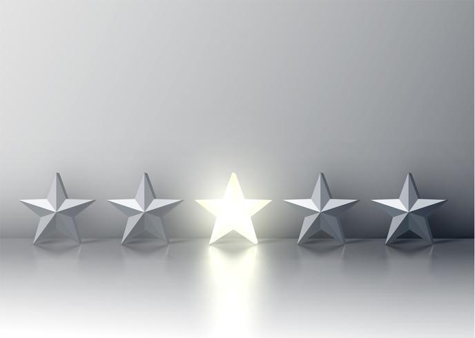 Stå ut från mängden glödande stjärna bland gråtoner, vektorillustration vektor