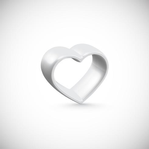 Vit 3D hjärta, vektor illustration