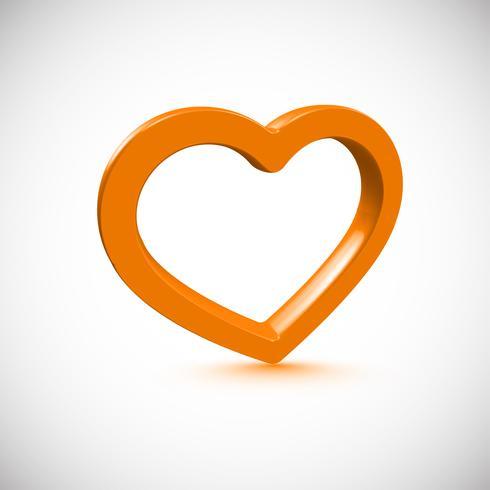 Orange 3D hjärta, vektor illustration