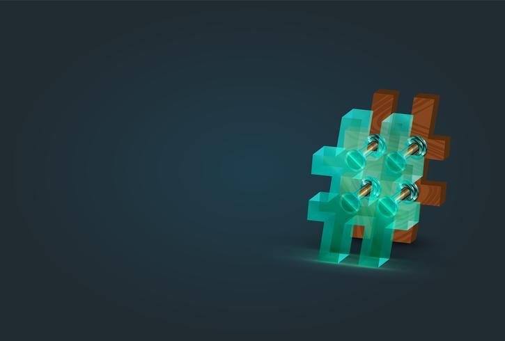 Hög detaljerad trä och glas hashtag karaktär, vektor illustration
