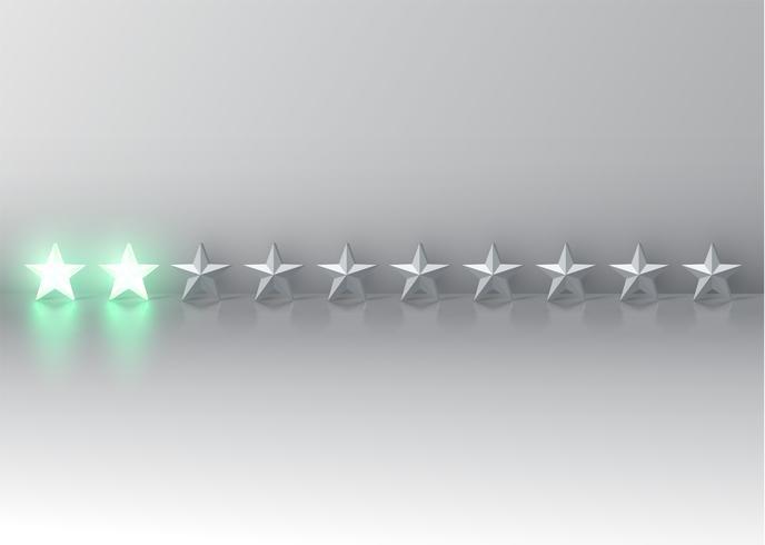 Glödande grönt 3D-stjärnor, vektor illustration