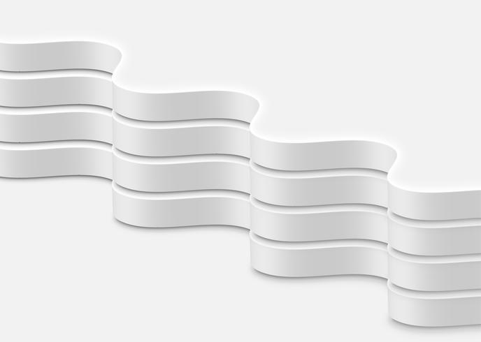 Högt detaljerade abstrakta vita vågor, vektor illustration