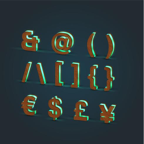 3D, realistisch, Glas- und Holzzeichensatz, Vektor
