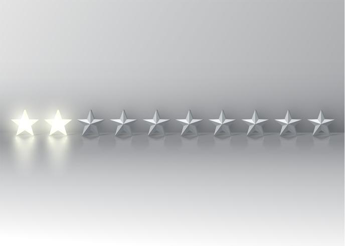 Tvåstjärnigt betyg med glödande 3D-stjärnor, vektor illustration