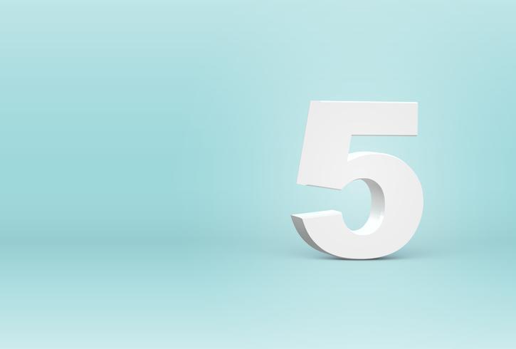 Högt detaljerat 3D teckensnitt nummer, vektor illustration