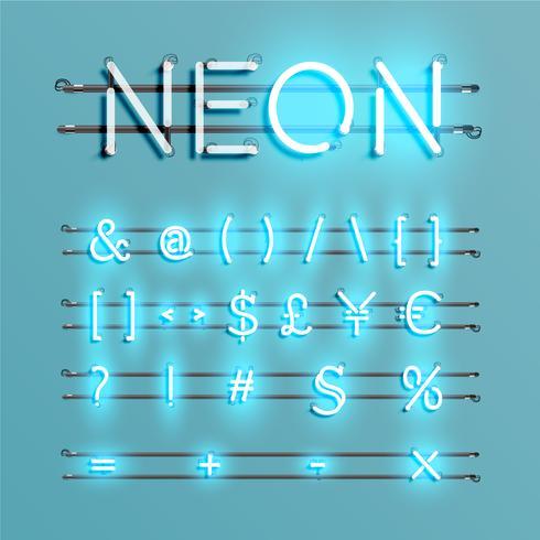 Realistischer Neonguß mit Drähten und Konsole, Vektorillustration vektor