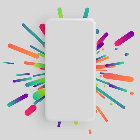 Realistischer Matt-Smartphone mit buntem Hintergrund vektor
