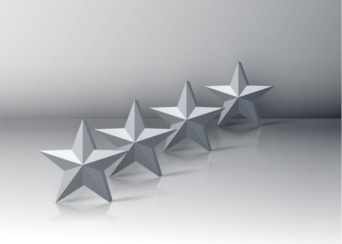 Fyra grå 3D stjärnor på grå bakgrund, vektor illustration