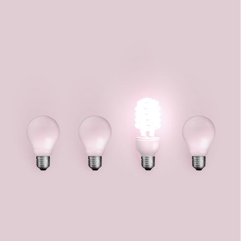 Energibesparing ljusbulb bland gamla, vektor illustration