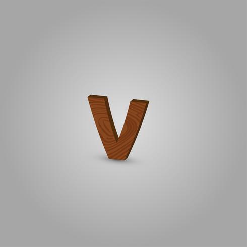 Realistischer hölzerner Charakter von einem Schriftsatz, Vektorillustration vektor