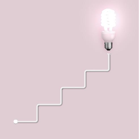 Energibesparande lampa med ledningar, vektor illustration