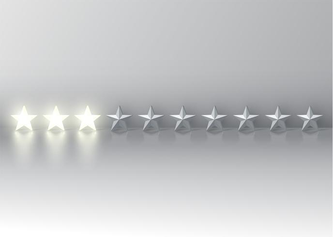 Drei-Sterne-Bewertung mit glühenden Sternen 3D, Vektor-Illustration vektor