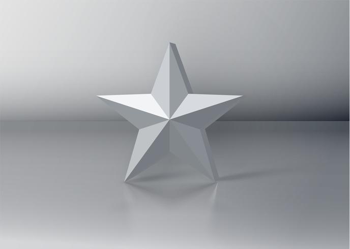 Grå 3D-stjärna på grå bakgrund, vektor illustration