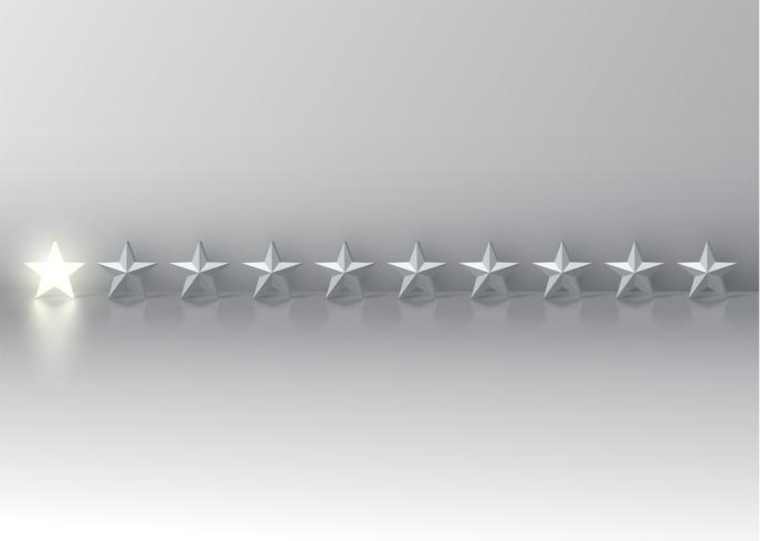 Enstjärnigt betyg med glödande 3D-stjärnor, vektor illustration