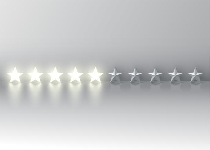 Fem stjärnor med glödande 3D-stjärnor, vektor illustration