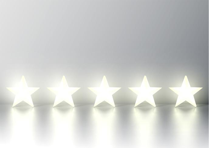 Fem 3D gul glödande stjärnklassificering på grå bakgrund, vektor illustration