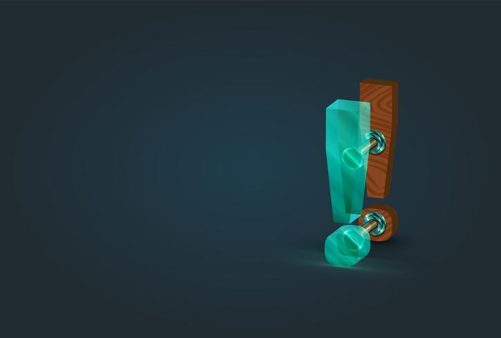 Högt specificerat trä och glas utropstecken karaktär, vektor illustration