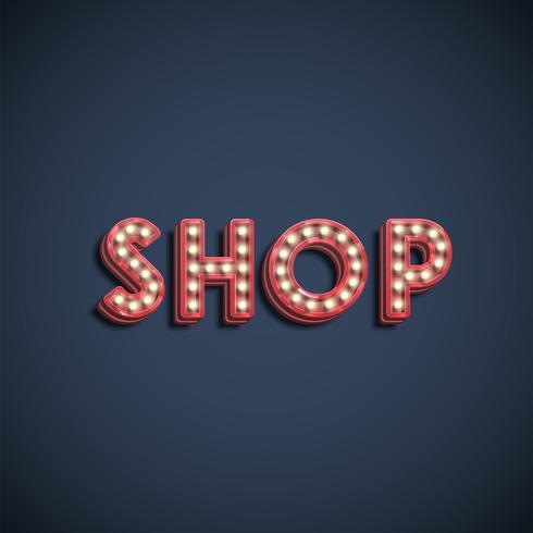 """""""SHOP"""" lampa teckensnitt tecken, vektor illustration"""