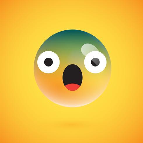 Netter hoch-ausführlicher gelber Emoticon für Netz, Vektorillustration vektor