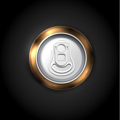 Realistische Bier- oder Getränkedose von der Oberseite, Vektorillustration vektor