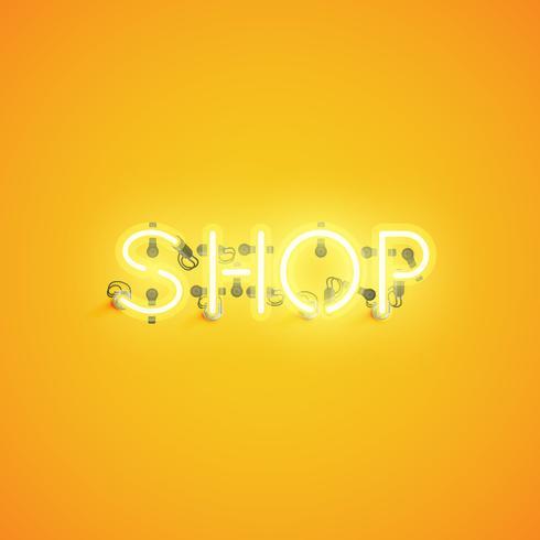 """""""SHOP"""" neon typsnitt teckensnitt, vektor illustration"""