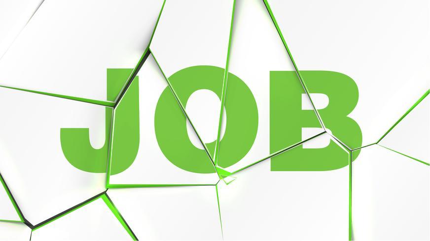 Wort von 'JOB' auf einer gebrochenen weißen Oberfläche, Vektorillustration vektor